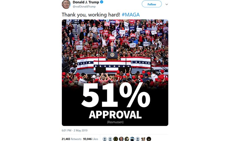 Trump Rasmussen Poll Twitter Post