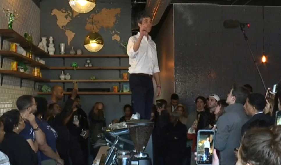 O'Rourke Standing on a Table