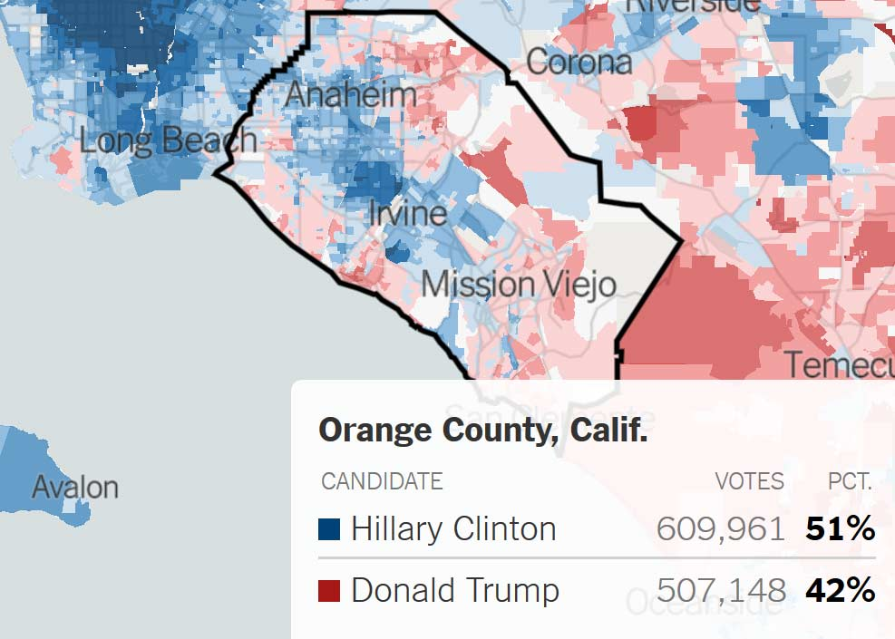 Orange County Vote in 2016 Election